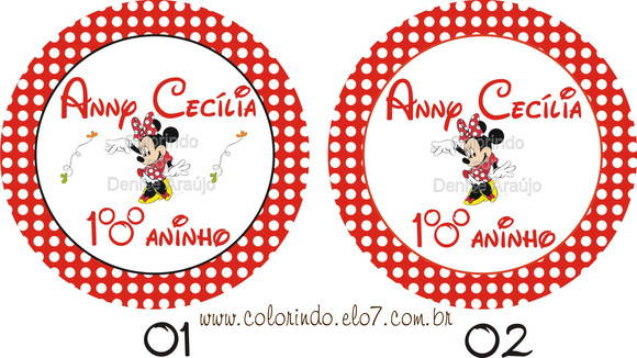 Etiqueta Redonda Minnie Vestido Vermelho