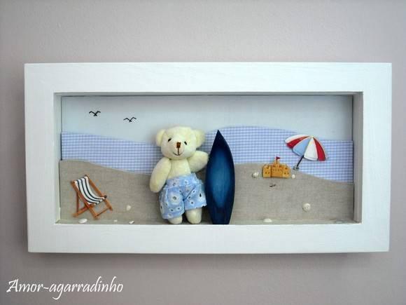 Quadro Urso Surfista  Ateliê Amoragarradinho  Elo7