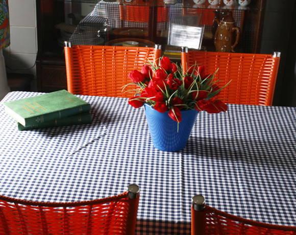Toalha de mesa xadrez azul marinho