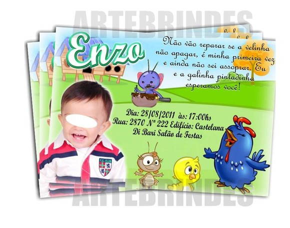 Convite personalizado galinha pintadinha
