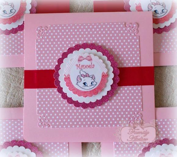 Convite Gatinha Marie Pink