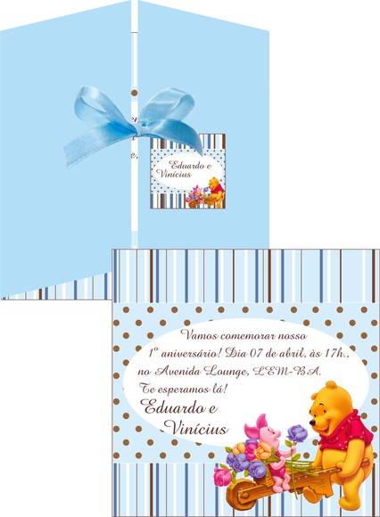 Convite Pooh Azul e Marrom