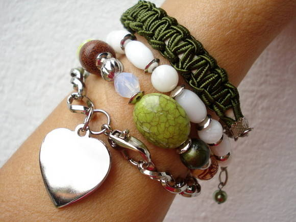 Pulseiras metal macram silicone verde