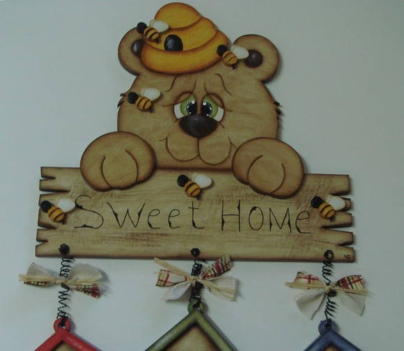 "Placa Urso ""Sweet Home"""
