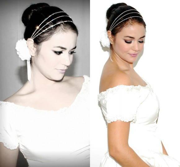 Headband/faixa NOIVA strass prata& flor