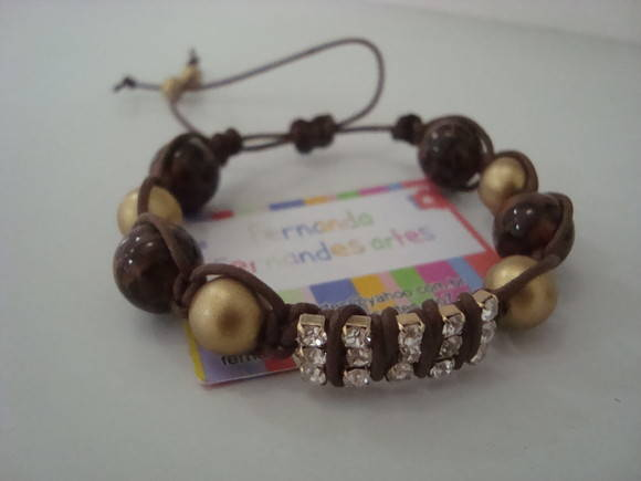 Shamballa animal print  e strass-VENDIDO
