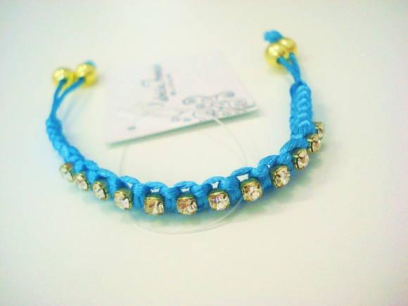 Pulseira Shambala Azul e Strass