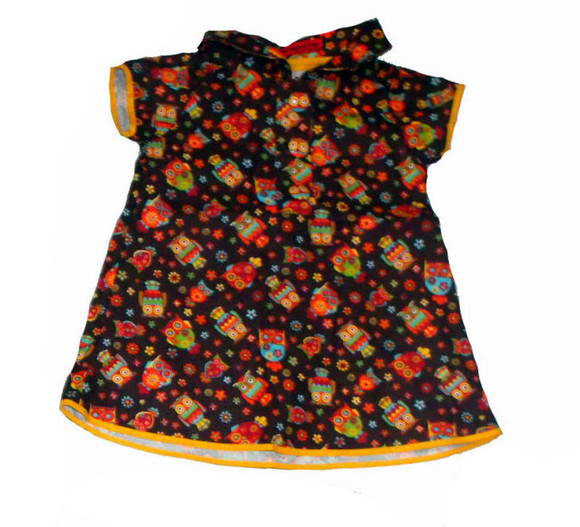 VESTIDO INFANTIL CORUJA MARROM  MODELO B