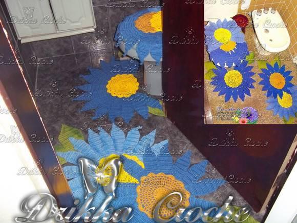 Jogo De Banheiro Azul Em Croche : Jogo de banheiro flor azul drikka croche artes elo