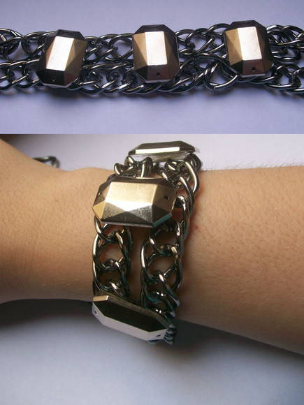 Bracelete correntes metal chatons