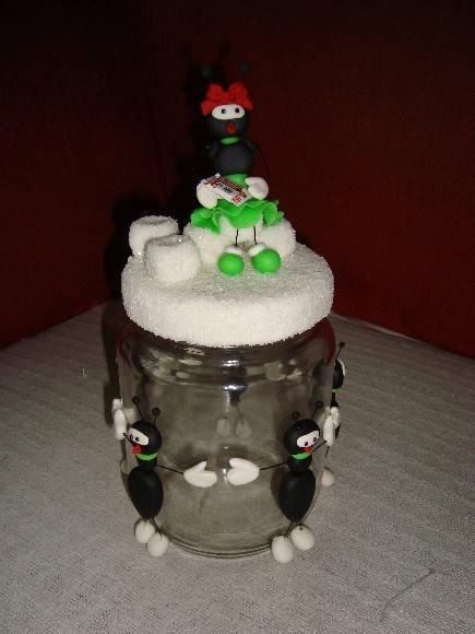 Vidro porta a�ucar decorado em biscuit