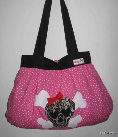 Bolsa De Tecido Linda : Bolsa de tecido rosa caveira charmosa bety butterfly elo