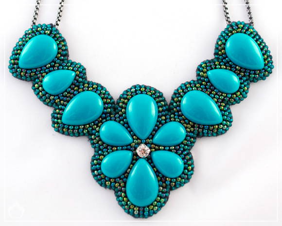 Maxi Colar Turquoise Flower