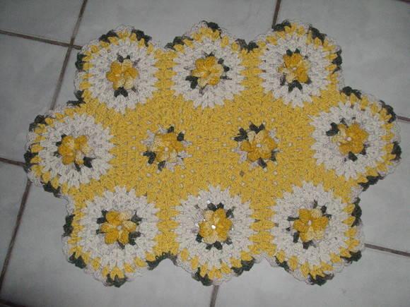 jogo de banheiro de barbante com flores cata vento matizadas