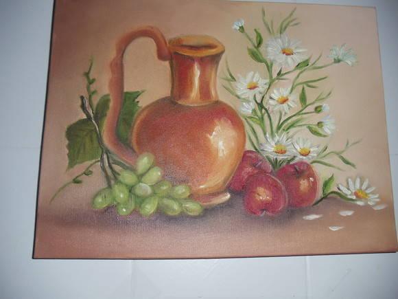 Pintura em tela Jarro com flores e fruta