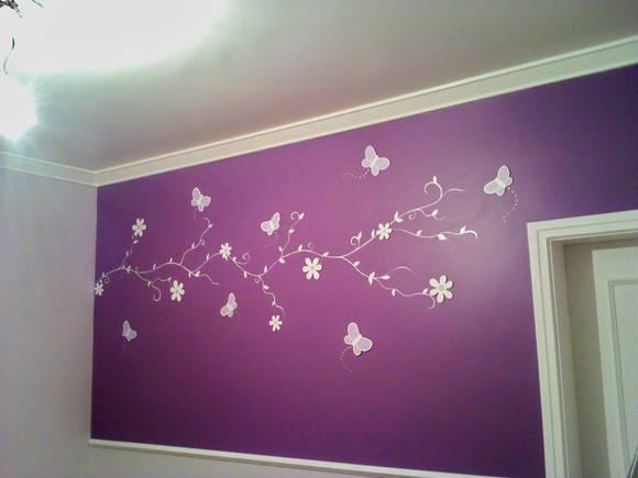 decoracao de interiores pintura de paredes:Decoração de Parede Flores e Borboletas