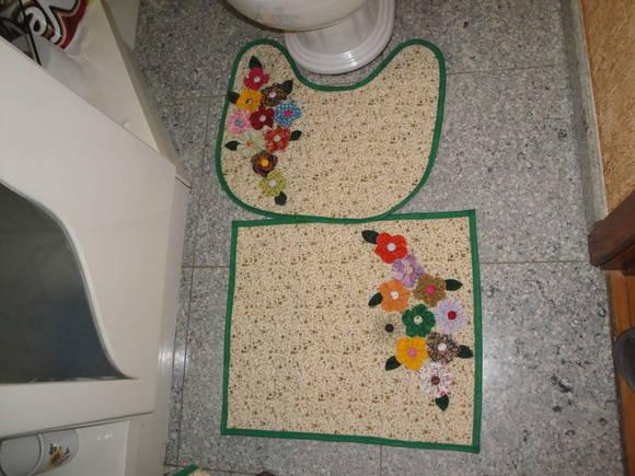 Patchwork Em Tapete De Banheiro : Jogo de Tapetes Banheiro JANE BUHL PATCHWORK Elo7