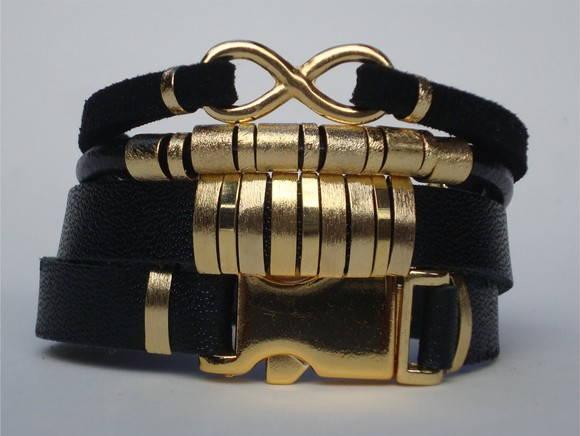 Mix couro preto e dourado