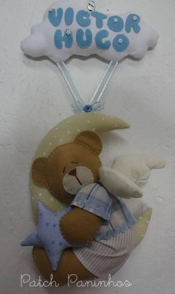 Enfeite De Lua ~ Porta Maternidade Ursinho na Lua PatchPaninhos Elo7
