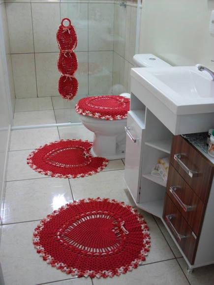 decoracao de banheiro vermelho: Decoração > Tapete de Crochê > Jogo De Banheiro Coração Vermelho