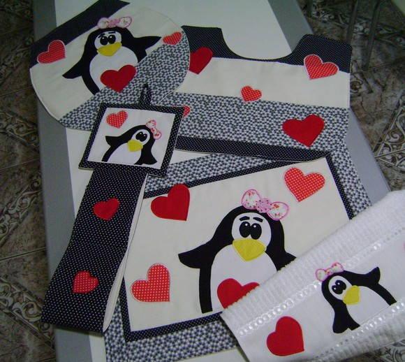 Patchwork Em Tapete De Banheiro : Jogo De Banheiro Em Patchwork – Pinguins ATELIE DA DRICA Elo7