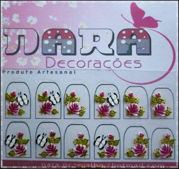 Artesanato Vila Do Conde ~ Adesivo de unha com borboleta Nara Decorações Elo7