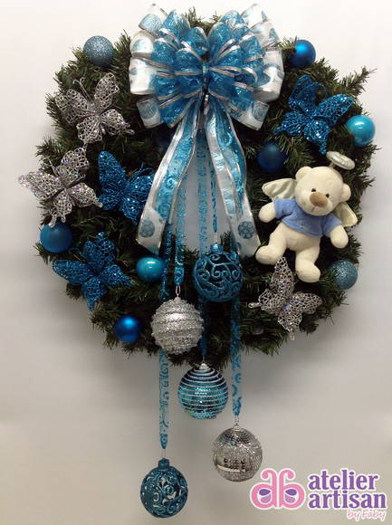 decoracao de arvore de natal azul e prata:Guirlanda de Natal Azul (com e sem LED)