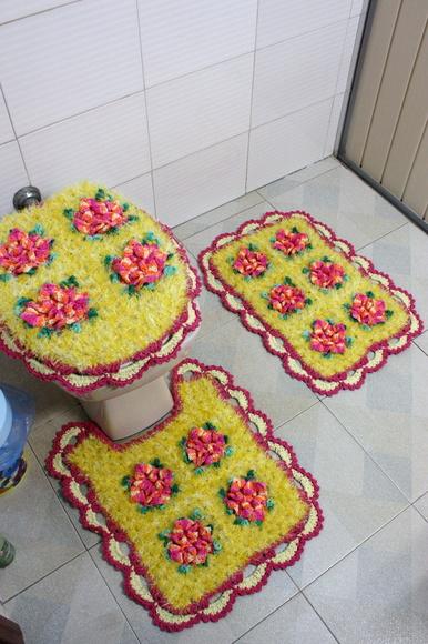 Jogo de banheiro com decore amarelo  Patricia crochetando  Elo7 -> Decoracao De Banheiro Amarelo