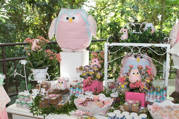Decoração de festa infantil corujinha