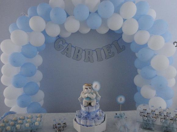 Decora    O Ch   De Beb   Azul E Branco