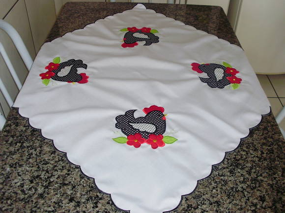 Jogo cozinha galinha com flores  bia bordados  Elo7