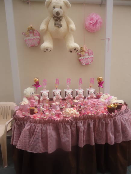 Decora��o Ch� de fraldas - marrom e rosa