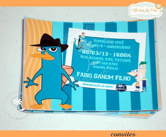 Convite Agente Perry, O Ornitorrinco