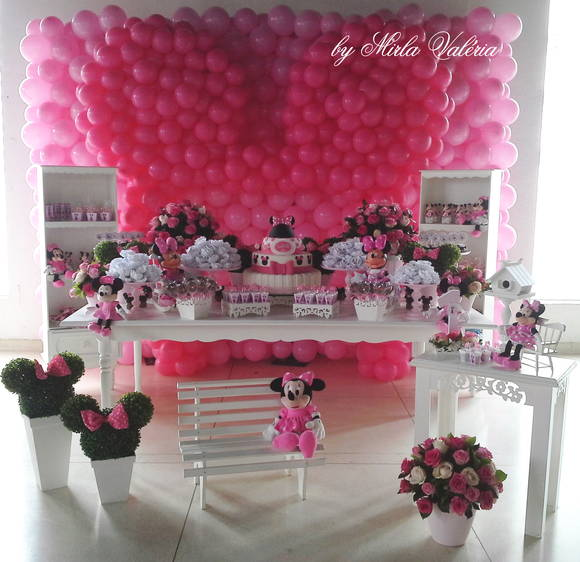 Loca    O Mesa Decorada Minnie Rosa