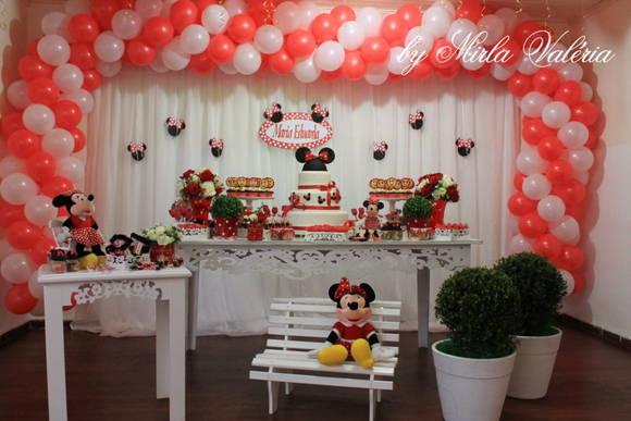 Loca    O Mesa Decorada Minnie Vermelha