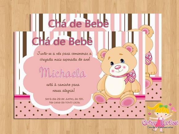 Convite Chá De Bebê Ursinha Rosa No Elo7 Criar Artes 2e96ce