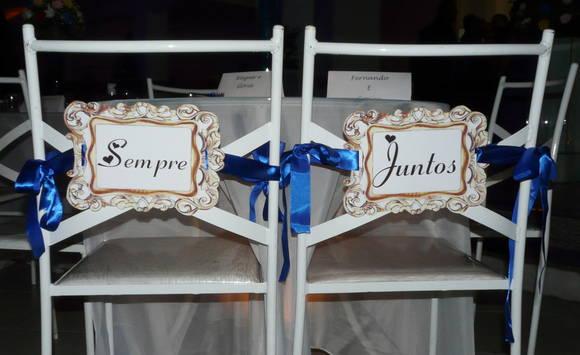 Placa das cadeiras dos Noivos