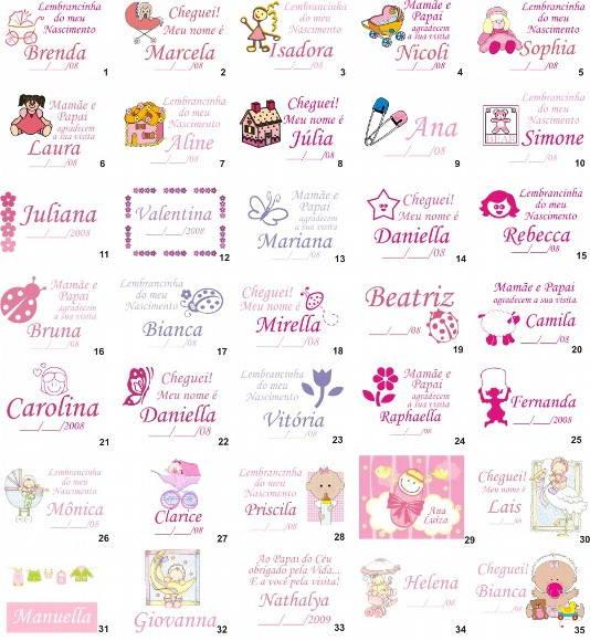 Cart�es para Lembrancinha de Nascimento
