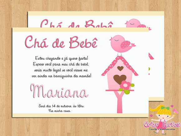 Convite Ch� de Beb� Passarinho Menina