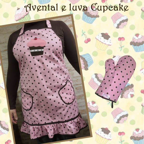 Kit avental e luva Cupcake
