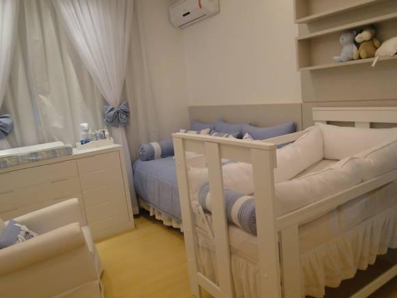 Kit Quarto Bebê Higiene Ursinhos 3D Azul Pedreira Decor  ~ Quarto Branco E Azul