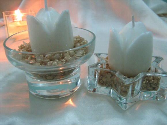 Centro de mesa quinque con vela tallada para boda car - Centros de mesa con velas ...