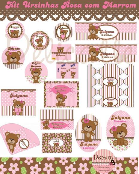 decoracao festa ursa marrom e rosa:Kit Festa Digital Ursa Rosa Com Marrom