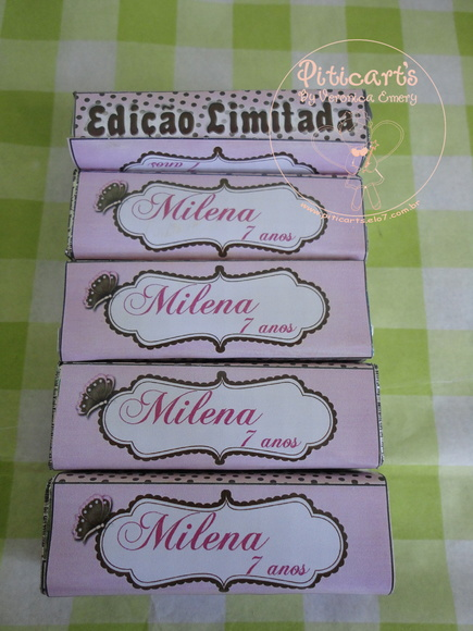 Pastilhas Personalizadas Marrom e rosa