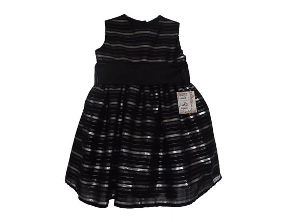 Vestido infantil preto e prata 300AB8