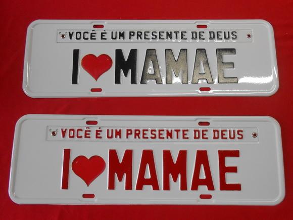 Placa i love mamãe 2 Unidades