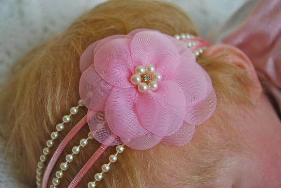 Faixa JASMINE rosa beb�&flor voil