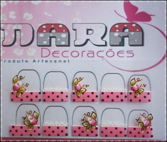 Artesanato Tecido Chita ~ Adesivo De Unha Francesinha Nara Decorações Elo7