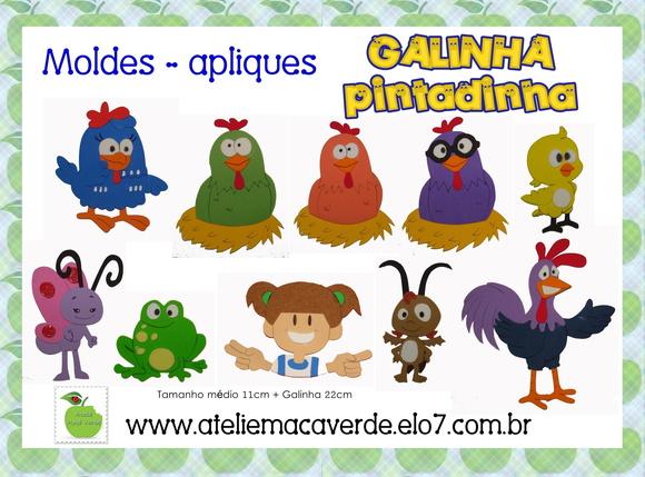 MOLDES/APLIQUE GALINHA PINTADINHA EVA