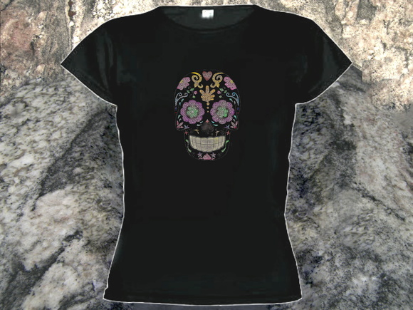 Camiseta Baby Look Mexican Skull
